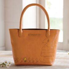 PEANUTS SNOOPY Woodstock Cowhide Mini Tote Bag Handbag Purse Pouch