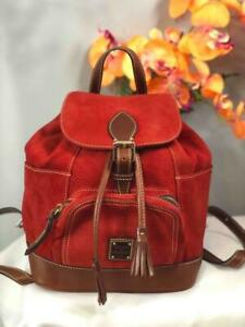 DOONEY & BOURKE Red Suede Brown Leather Trims Medium Backpack