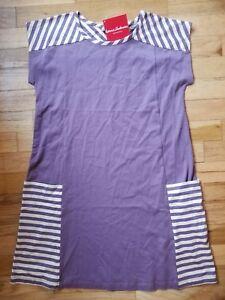 NWT HANNA ANDERSSON PURPLE STRIPE POCKET STRIPED STRIPEY DRESS 140 10 NEW!