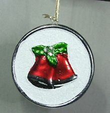 # CERAMIC CHRISTMAS TREE DECORATIONS DISC WITH TWIN BELLS FREE POST