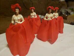 Lot of 4 Vintage BRIDESMAIDS in RED Chalkware WEDDING CAKE TOPPERS