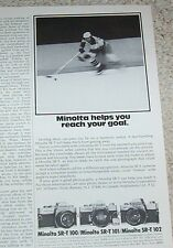 1974 print ad - Minolta SR-T cameras - hockey player vintage Advert advertising