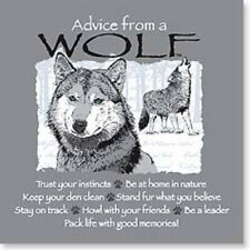 """LEANIN TREE """"Advice From A Wolf"""" #26331 Magnet~Keep Your Den Clean~Be a Leader!"""