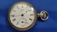 1888 Antique American Waltham 15j 18s Open Face Pocket Watch Silverine Case