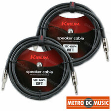 "2-Pack Kirlin Pro Audio 10 FT Speaker Cable 1/4"" 16AWG Guitar Bass Amp Amplifier"