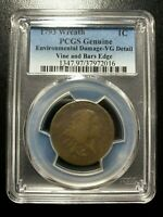 1793 Wreath Cent PCGS VG Vine and Bars Edge Variety Flowing Hair Large Penny EAC