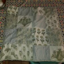 """Pottery Barn """"Blue/Green Floral Patches"""" Quilted Euro Pillow Sham"""