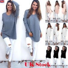UKWomens V Neck Knitted Oversized Pullover Sweater Jumper Casual Tops Dress 6-20