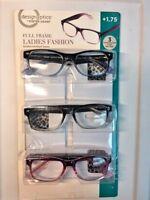 17f1d811ad7 Design Optics Foster Grant Full Frame Ladies Fashion +1.75 Reading Glasses  3Pk