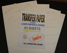 10x A3 Laser & Copiadora T Shirt Transferencia Térmica las hojas de papel para Luz Tejidos