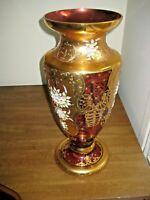 """Gorgeous  20"""" Bohemian/ Czech crystal vase ,hand cut, enameled,14KT, cranberry"""