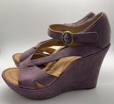 Born Crown Womens Size 7/38 Bindi Purple Suede Leather Wedge Open Toe Sandals