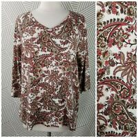 Studio Works 2X Knit Top Cotton Paisley Floral 3/4 Sleeve Autumn fall colors