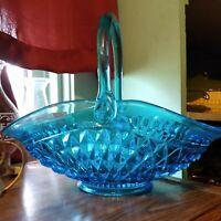 """Vintage Indiana Glass Tiara Turquoise Diamond Point Centerpiece Basket 13.5"""" USA"""