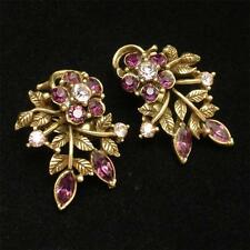 Coro Rhinestone and Antique Gold Tone Metal Earrings Vintage