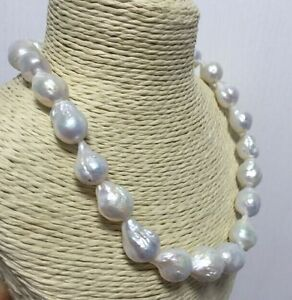 GORGEOUS 13-15 mm  south sea baroque white pearl necklace 18inch
