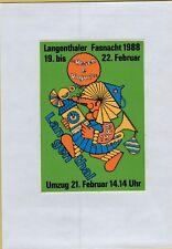 ADESIVO VINTAGE STICKER  CARNEVALE LANGENTHALER FASNACHT 1988