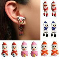 Red Christmas hat animal earrings Creative cute Christmas eyed Best big Moo O7D8