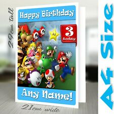 SUPER MARIO Birthday Card Personalised A4 Daughter Son Girl Boy Her Him Cousin