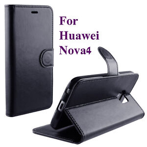 BLACK PU LEATHER WALLET CASE COVER KICKSTAND CASE FOR HUAWEI NOVA 4