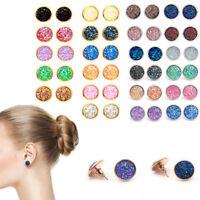 Women Boho False Druzy Ear Stud Natural Stone Quartz Party Earrings Size 12mm
