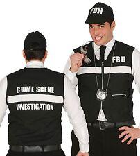 Mens FBI Police Crime Waistcoat Hat Fancy Dress Costume Stag Accessory Kit