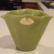 Rosemeade North Dakota Pottery Green Fluted Vase/Planter Chartreuse Clam