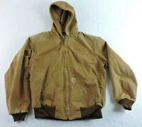 Carhartt Mens Medium J131 BRN Brown Hooded Duck Lined Jacket Coat Few Flaws