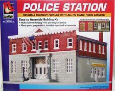 HO Gauge-Life-Like-433-1382-Model Railroad Building Kit-Police Station Kit