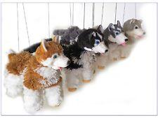 """Yarn Siberian Husky Dog 4 Legged Dark Gray & White String Marionette 6"""" Puppet"""
