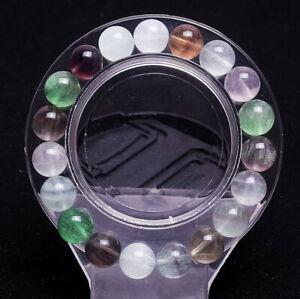 10mm Natural Color Fluorite Quartz Crystal Square Beads Bracelet AAA