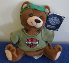 "Harley Davidson Bean Bag Plush Stuffed Animal NWT Bear Green Bandana 6"" 1998"