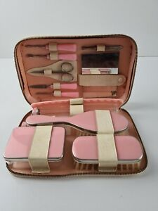 Women's VINTAGE 1950's Pink Toiletry Vanity 13 Piece Travel Kit MADE W. Germany
