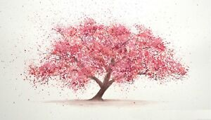 ABSTRACT PINK CHERRY BLOSSOM TREE CANVAS PICTURE POSTER PRINT UNFRAMED #827