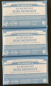 LOT OF 3 Dr Bronner's All-One Baby Mild Pure Body Soap Bar, Unscented, 5 Oz EACH