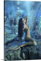 Mermaid Canvas Wall Art Print, Fantasy Home Decor