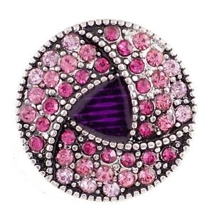 Silver Purple Pink Rhinestones 18mm Snap Charm Button For Ginger Snaps
