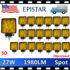 20PCS 27W 5D LENS LED Work Light Square 4WD Offroad ATV Jeep Amber Lamp SUV SPOT