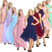 Women Halter Lace Prom Formal Evening Cocktail Party Bridesmaid Gowns Full Dress