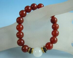 Chinese red agate beads bangle