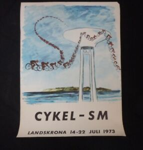 Signed: An Limited Edition Original Cycling Poster (Cykel - SM) (Sweden) 1973