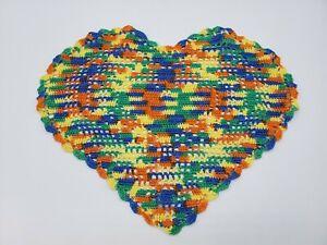 Vintage Crochet Heart Shaped Doily