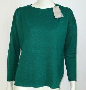 Maglione lana cashmere donna girocollo verde bordi arricciati Made In Italy Tg M