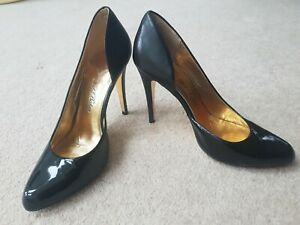 **TED BAKER SIZE 7 GORGEOUS BLACK PATENT/LEATHER HIGH HEELED SHOES**