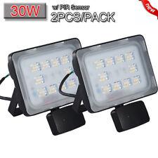 2X 30W LED PIR Motion Sensor Flood Light Warm White Outdoor Security Spot Lamp