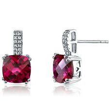 14K White Gold Created Ruby Earrings Cushion Checkerboard Cut 6.00 ct