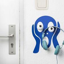 Children's COAT HOOKS - SCREAM Wall Art Sticker & 2 wood hooks HOOKLYS