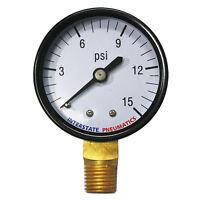 """Pressure Gauge 15 PSI 2"""" Diameter1/4"""" NPT Bottom Mount  G2012-015"""