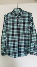 EXPRESS MEN Casual Dress Shirt - Green Blue White Plaid Small 14-14 1/2