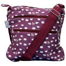 Sheep Shoulder Bag Cute Crossbody Across Body Plum Burgundy Canvas Messenger Bag